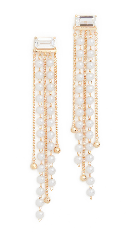 Theia Jewelry Ella Earrings with Petite Imitation Pearl Drop in gold