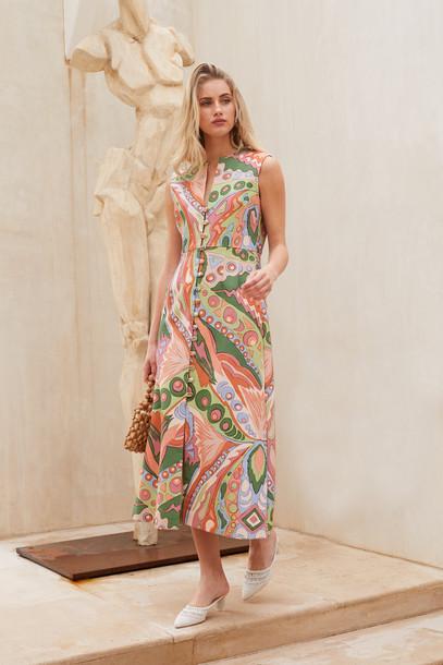Cult Gaia Gia House Dress - Coral Multi                                                                                               $578.00 USD