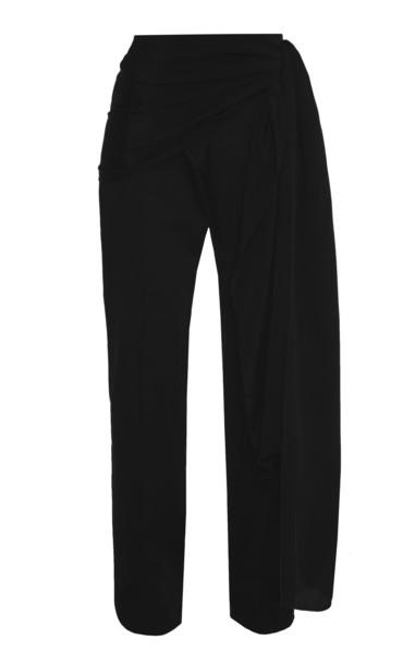 Lado Bokuchava Belted Draped Cotton Pants in black