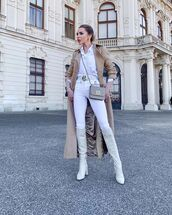coat,long coat,white jeans,knee high boots,high waisted jeans,white shirt