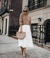 skirt,pleated skirt,white skirt,midi skirt,sandals,handbag,beige sweater,knitted sweater