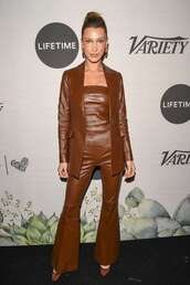 jacket,brown,leather,leather jacket,blazer,suit,top,pants,flare pants,bella hadid,model off-duty