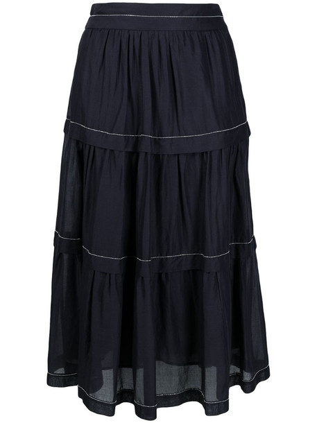 Peserico tiered cotton skirt in blue