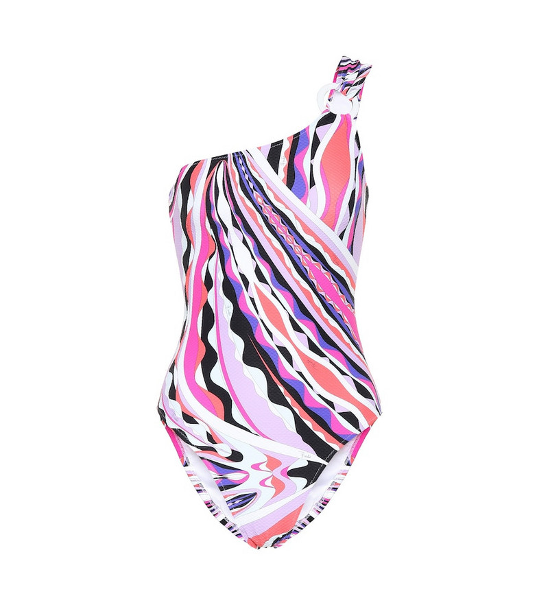 Emilio Pucci Beach Printed one-shoulder swimsuit