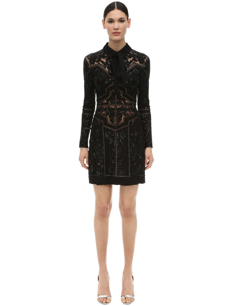 ELIE SAAB Embellished Crepe & Tulle Mini Dress in black