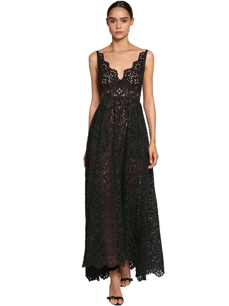 ELIE SAAB Cotton Blend Lace Dress W/ Poplin Bow in black