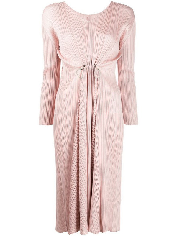 Pleats Please Issey Miyake pleated v-neck dress in pink
