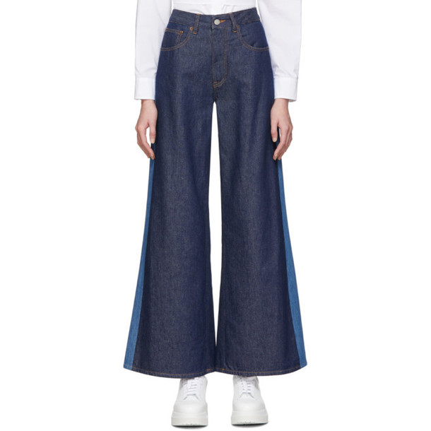 MM6 Maison Margiela Blue Two-Tone Flare Jeans