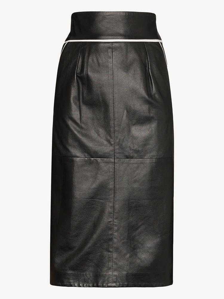 Skiim Vida contrast piping leather skirt in black