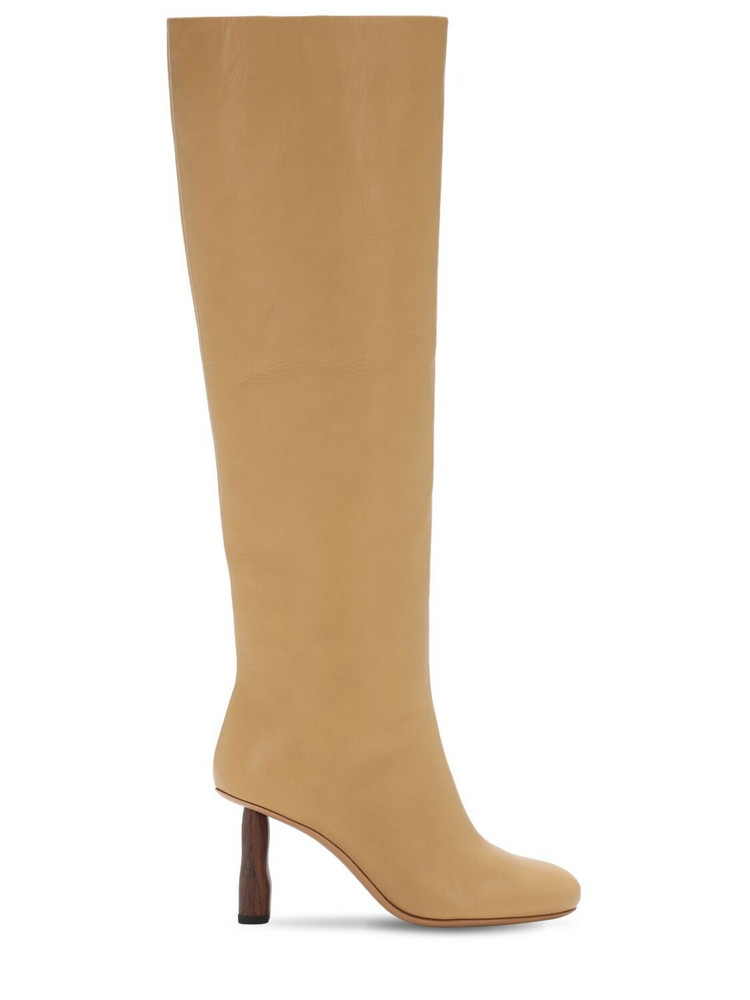REJINA PYO 80mm Leather Tall Boots in beige