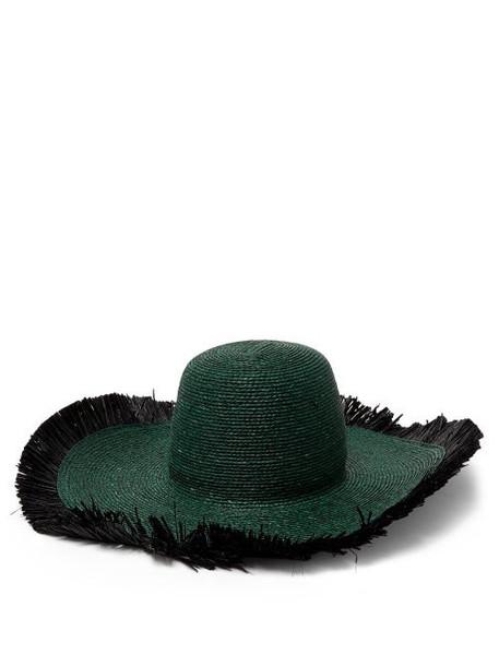Albus Lumen - Franja Frayed Raffia Hat - Womens - Dark Green