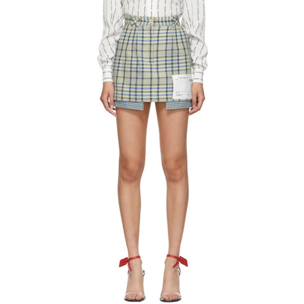 Off-White Blue Check Pockets Out Miniskirt