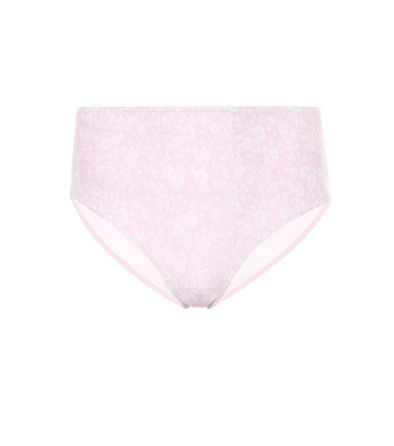 Ganni Floral high-rise bikini bottoms in pink