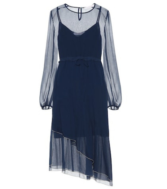 See By Chloé Chiffon midi dress in blue