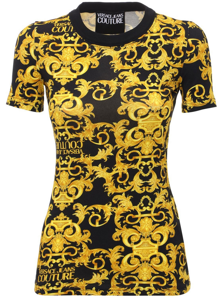 VERSACE JEANS COUTURE Printed Stretch Cotton Jersey T-shirt in black / gold