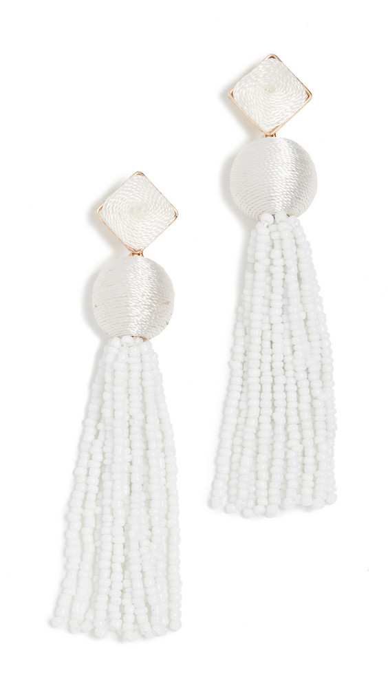 BaubleBar Azura Tassel Earrings in gold / white
