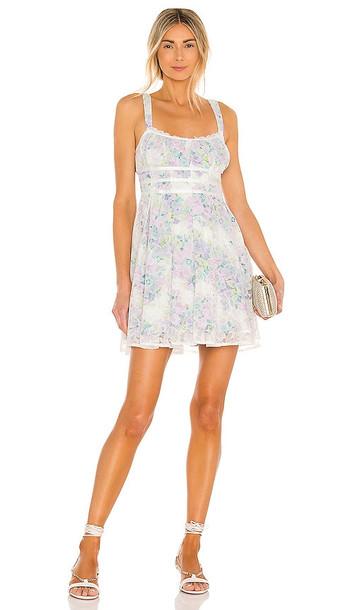 For Love & Lemons Loretta Mini Dress in Ivory