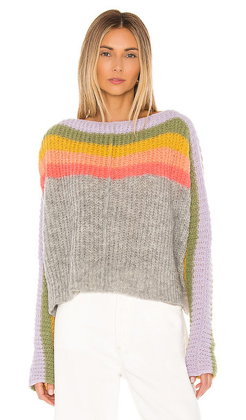 Free People See The Rainbow Sweater in Gray