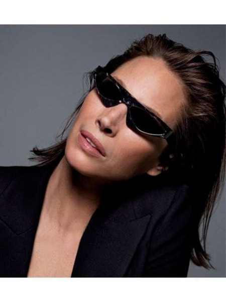 ALAIN MIKLI & ALEXANDRE VAUTHIER Josseline Asymmetric Acetate Sunglasses in noir