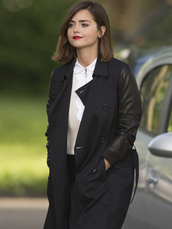 coat,doctor who,jenna coleman,clara oswald,double breasted,trench coat,women's coats
