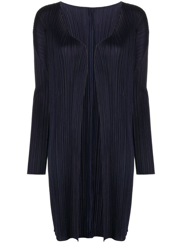 Pleats Please Issey Miyake lightweight pleated coat in blue