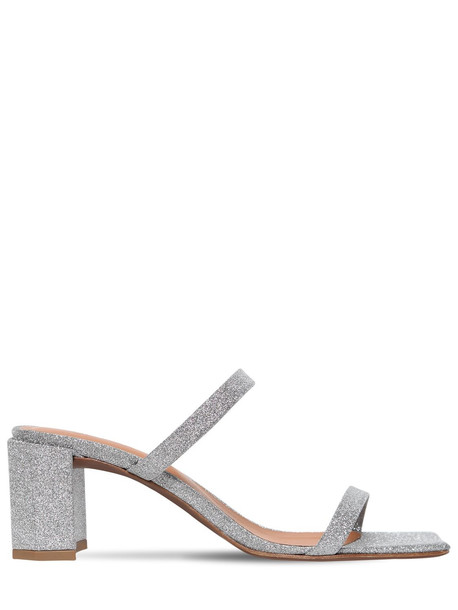 BY FAR 60mm Tanya Glittered Leather Sandals in silver