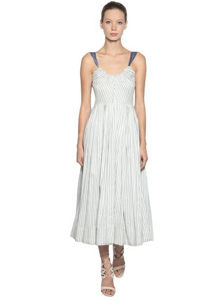 LUISA BECCARIA Striped Silk Dress in blue / white