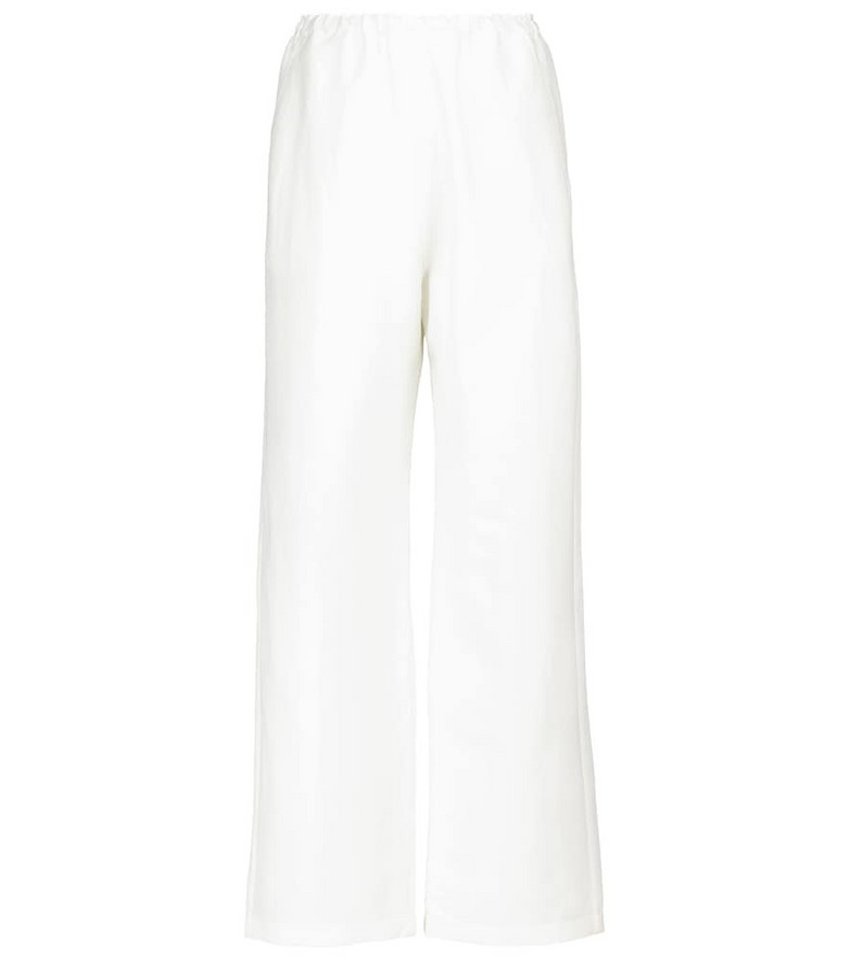 Toteme High-rise wide-leg linen-blend pants in white