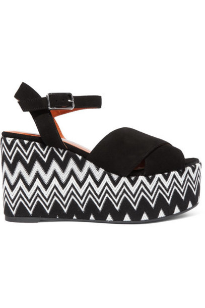 Castañer - Missoni Engie 105 Crocheted Canvas And Suede Wedge Espadrilles - Black