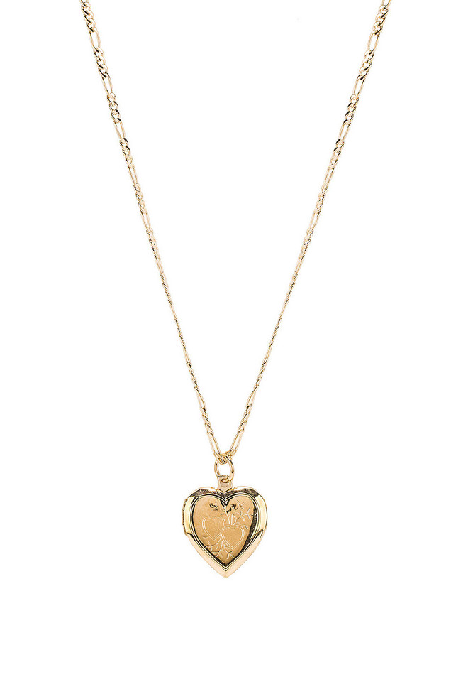 Vanessa Mooney The Lover Locket Necklace in gold / metallic