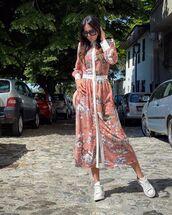 dress,shirt dress,floral,white sneakers