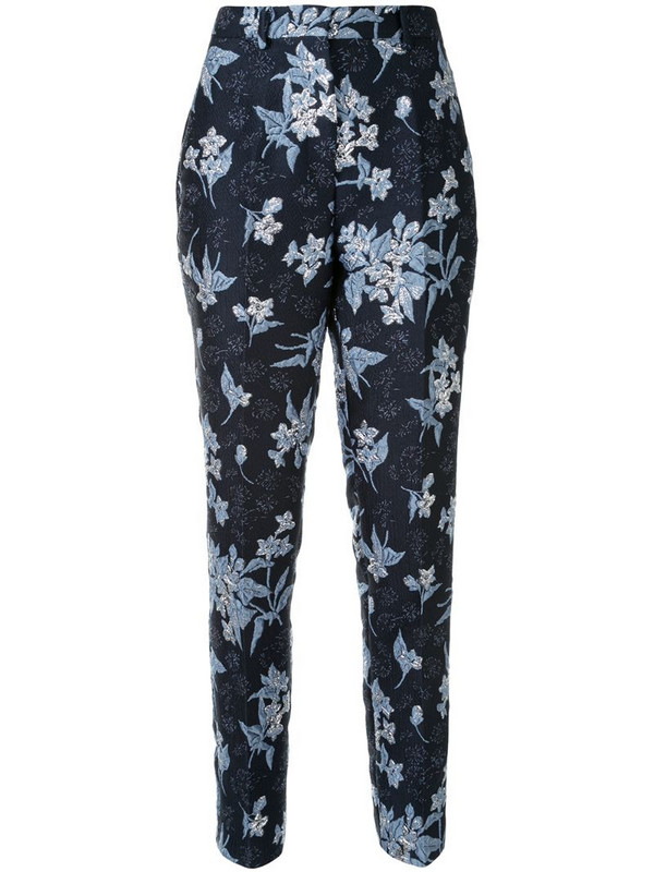 Delpozo jacquard print trousers in blue