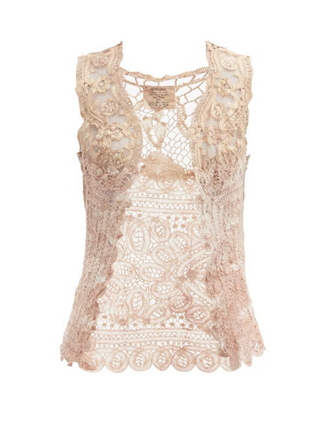 Mimi Prober - Antionette Upcycled Cotton-lace Top - Womens - Light Pink