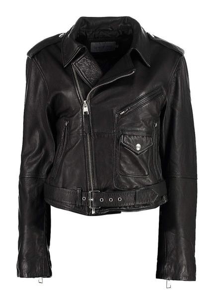 Calvin Klein Jeans Leather Biker Jacket in black