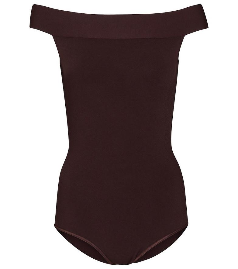 Alaïa Off-shoulder bodysuit in brown
