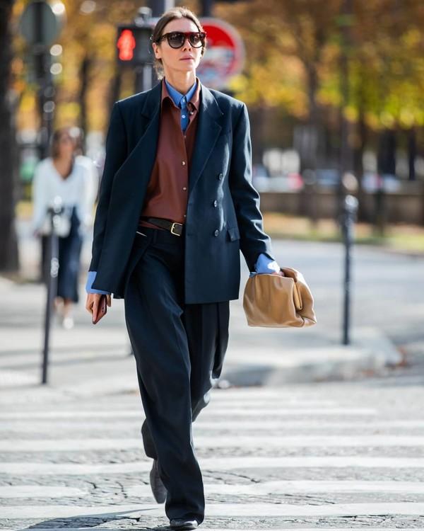 jacket blazer double breasted high waisted pants bag shirt