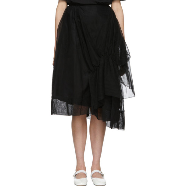 Simone Rocha Black Tulle Asymmetric Gathered Skirt