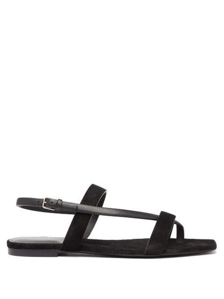 Saint Laurent - Hiandra Square Toe Suede Sandals - Womens - Black