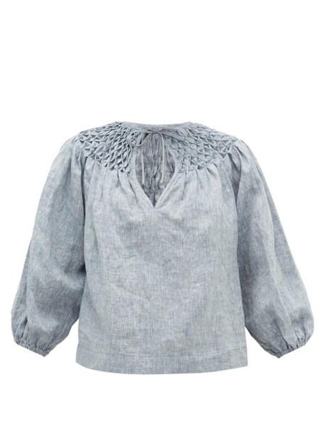 Innika Choo - Smocked-yoke Linen-chambray Blouse - Womens - Grey