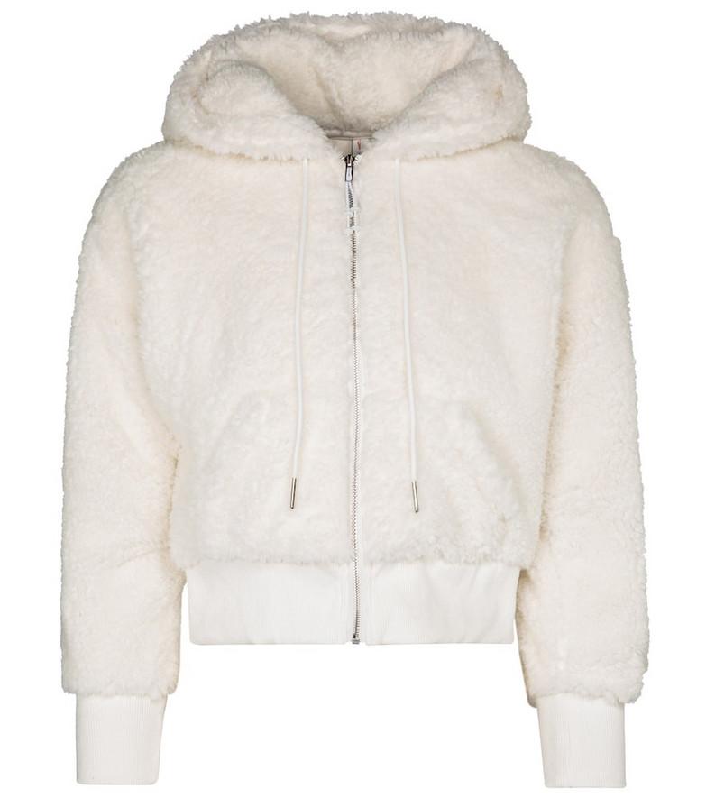Adam Selman Sport Shrunken cropped faux fur hoodie in white