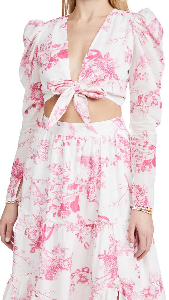 Hemant and Nandita Tie Front Crop Top in pink