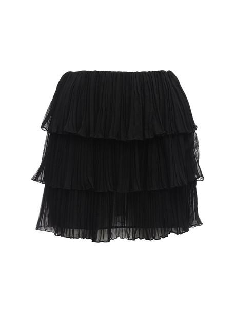 SAINT LAURENT Pleated Georgette Crepe Mini Skirt in black