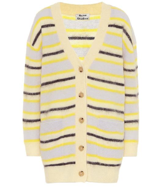 Acne Studios Striped wool-blend cardigan in yellow