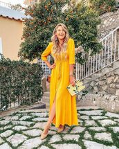 dress,maxi dress,yellow dress,long sleeve dress,platform shoes,handbag