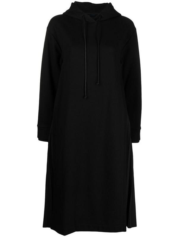 Juun.J drawstring hoodie dress with pleat detailing in black