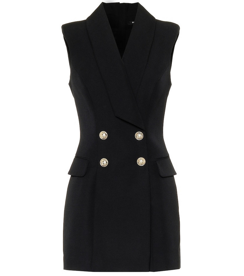 Balmain Wool minidress in black