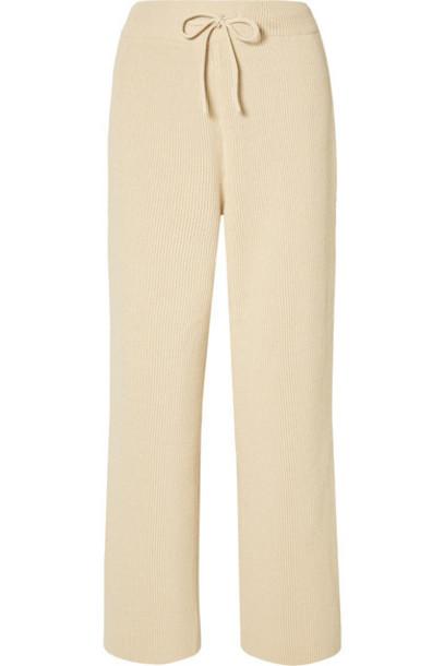 LE 17 SEPTEMBRE - Ribbed Cotton Wide-leg Pants - Cream