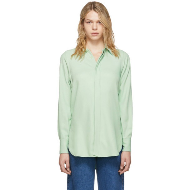 AMI Alexandre Mattiussi Green Oversized Button Down Shirt