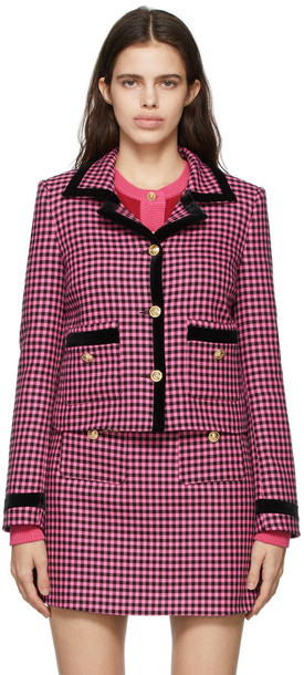 Versace Jeans Couture Pink & Black Gingham Pattern Blazer