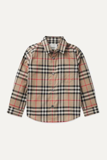 Burberry Kids - Checked Cotton-poplin Shirt - Beige